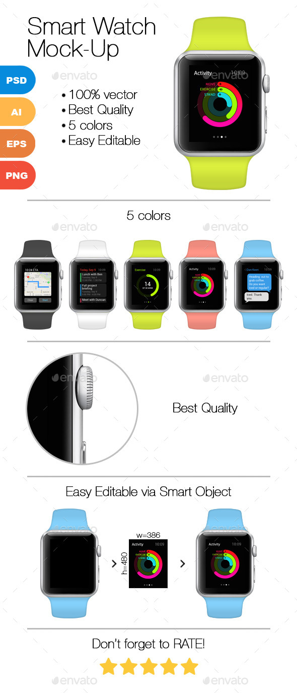 Smart Watch Mock-Up - Product Mock-Ups Graphics