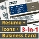 3-in-1 Deal: Resume Template + Icons + Business Card, Catalina S Template - GraphicRiver Item for Sale