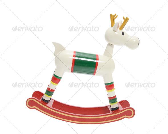 Miniature Wooden Reindeer - Stock Photo - Images