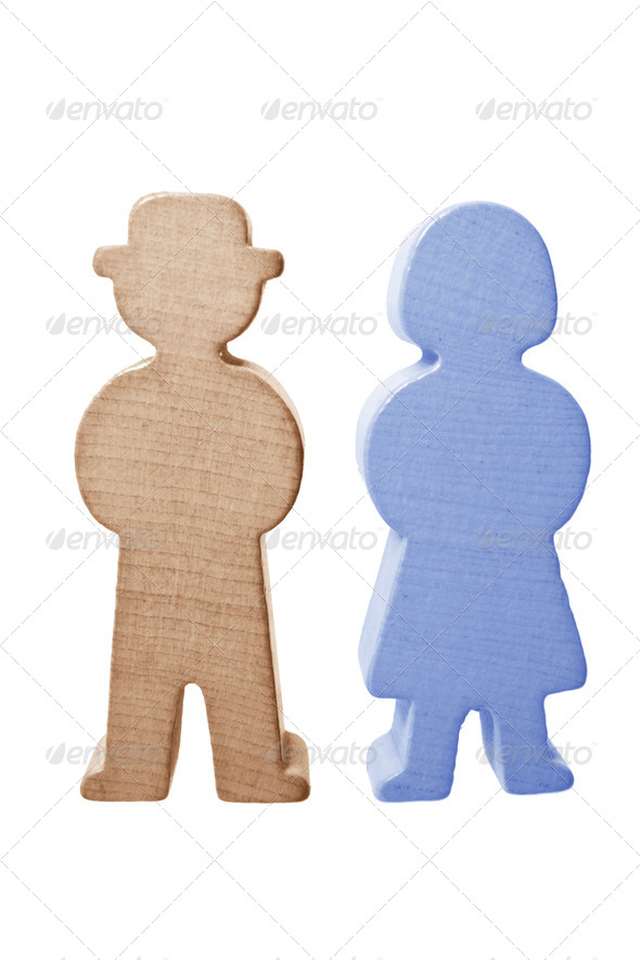 Wooden Couple Figures - Stock Photo - Images