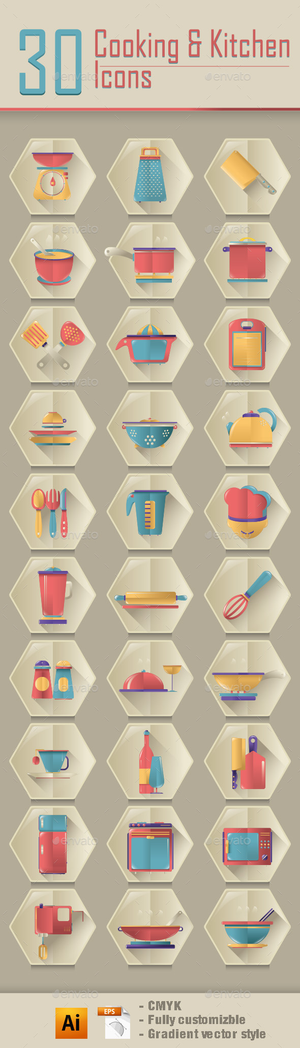 Cooking & Kitchen Icons - Food Objects