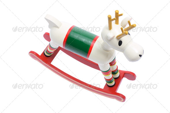 Miniature Wooden Reindeer - Stock Photo - Images