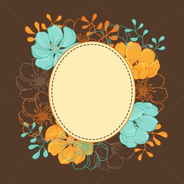 Background with Hand Drawn Stylish Flowers - Flourishes / Swirls Decorative