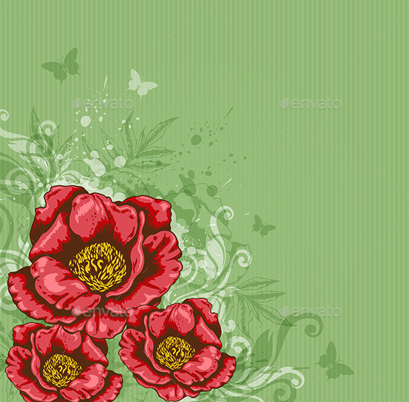Green Background with Red Flowers  - Flowers & Plants Nature