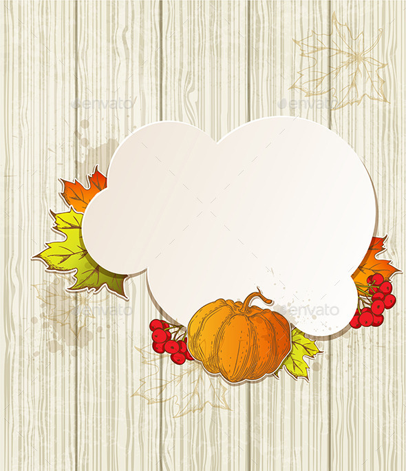 Background with Pumpkin and Leaves - Seasons Nature