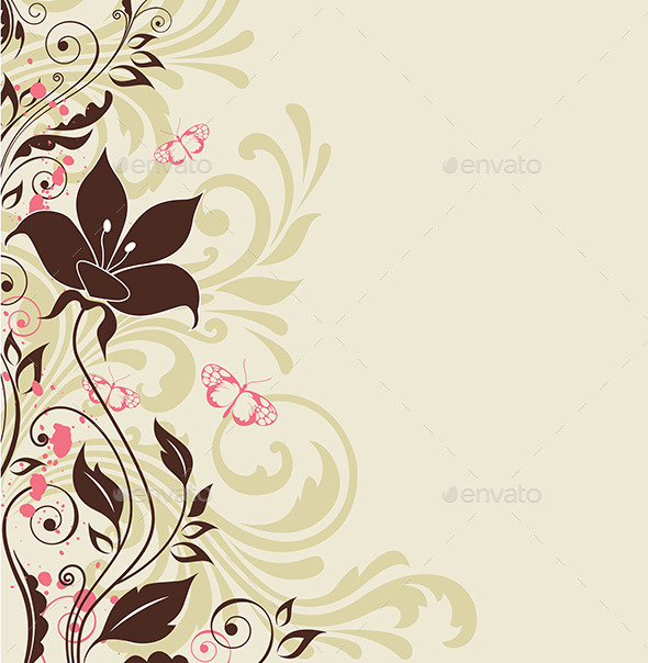 Decorative Background with Flowers - Backgrounds Decorative