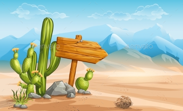 Wooden Sign in the Desert  - Landscapes Nature