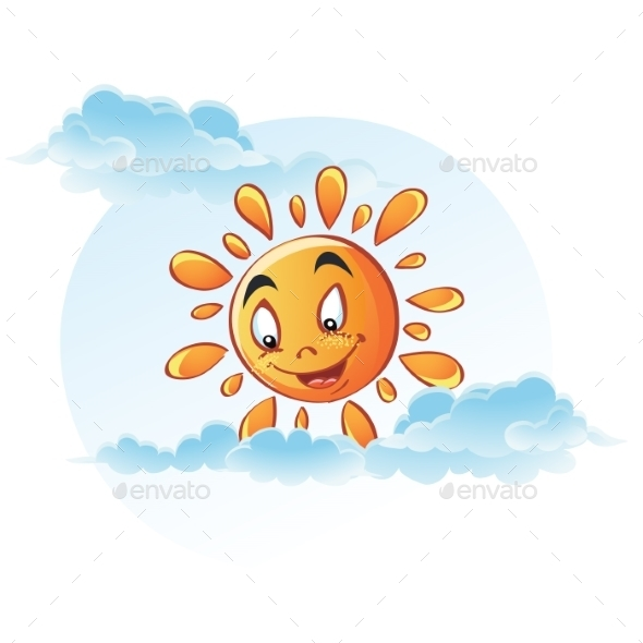 Cartoon Image of Sun in the Clouds - Objects Vectors