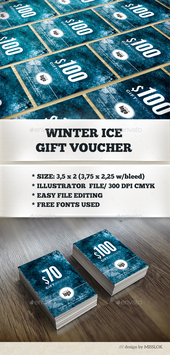 Winter Ice Gift Voucher - Cards & Invites Print Templates
