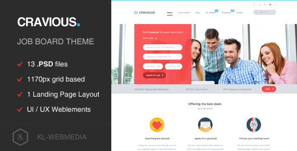 Cravious – Job Portal PSD Template