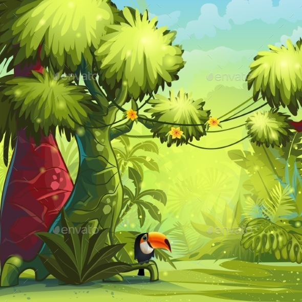 Illustration Sunny Morning in the Jungle with Bird - Nature Conceptual