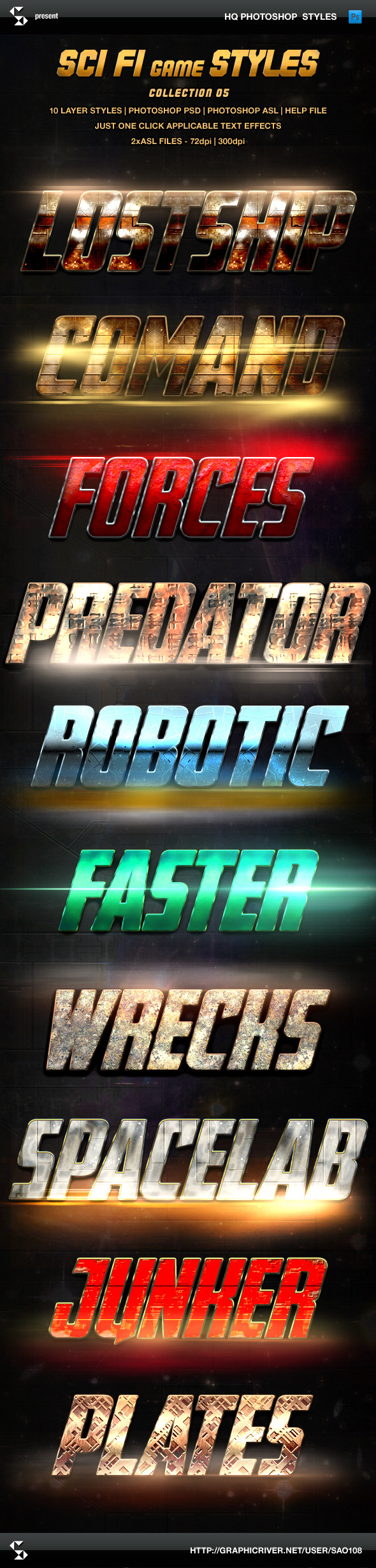 Sci-fi Game Styles - Collection 5 - Text Effects Styles