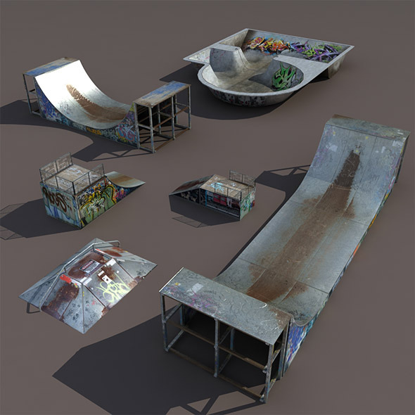6 skate park element Low Poly - 3DOcean Item for Sale