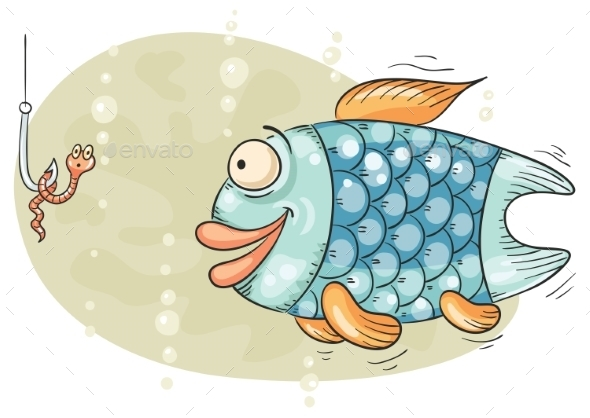 Hungry Fish and Worm on a Hook - Animals Characters