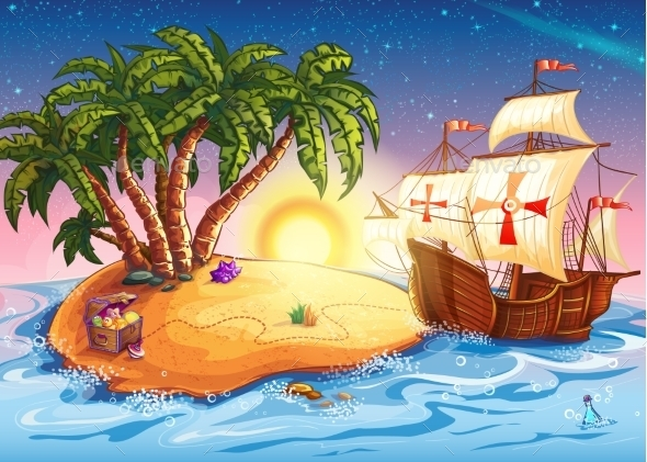Illustration of Treasure Island with a Ship - Objects Vectors