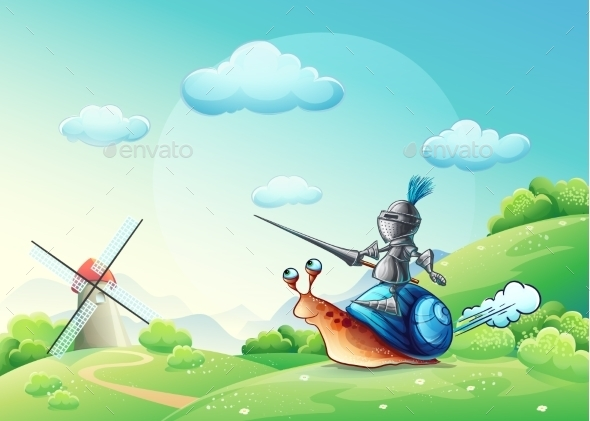 Knight Attacking the Mill - Objects Vectors