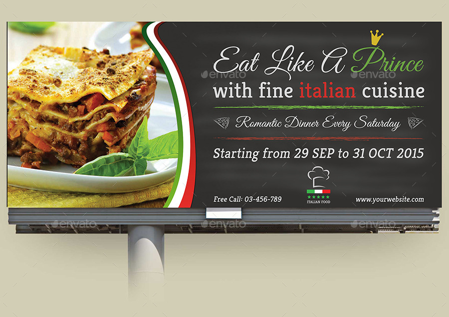 02_Italian_Restaurant_Billboard_Template  Inch Letters Template Free on printable fancy alphabet, editable cover, printable christmas, job cover, great resume cover, printable lowercase, sample reference, printable alphabet, professional business, printable resignation, for formal,