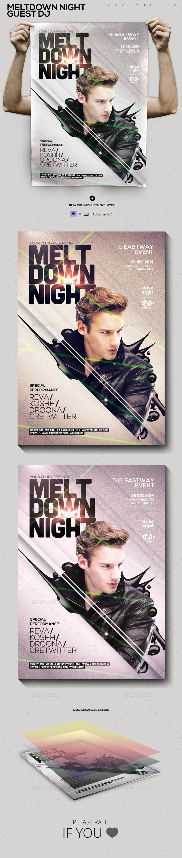 Meltdown Night Guest Dj Party Flyer/Poster - Clubs & Parties Events