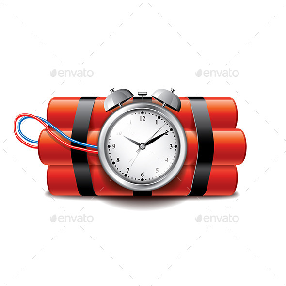 Bomb with Clock Timer - Man-made Objects Objects