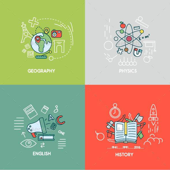 Geography, Physics, English, History - Conceptual Vectors