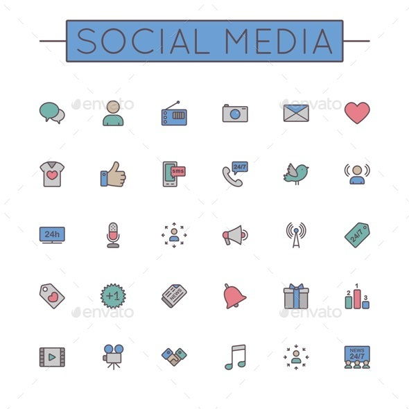 Vector Colored Social Media Line Icons - Media Icons