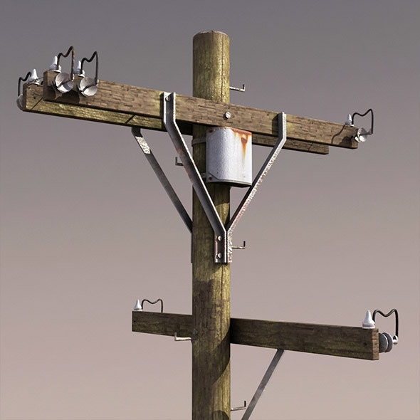 Telephone Pole Low Poly 3d Model - 3DOcean Item for Sale
