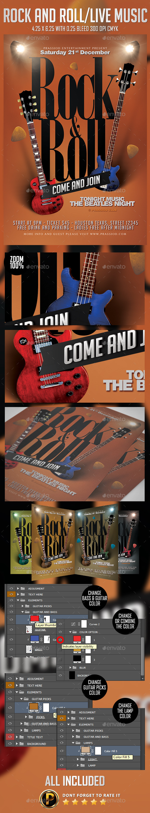 Rock And Roll/Live Music Flyer Template - Concerts Events