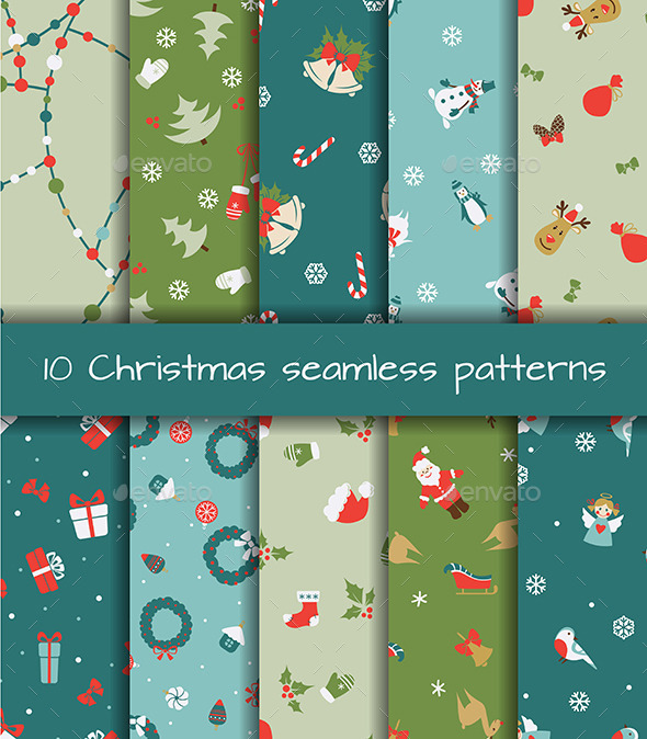 Set of Ten Christmas Seamless Patterns - Christmas Seasons/Holidays