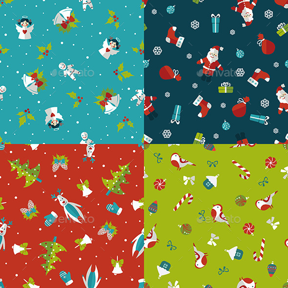 Set of Four Christmas Seamless Patterns - Christmas Seasons/Holidays