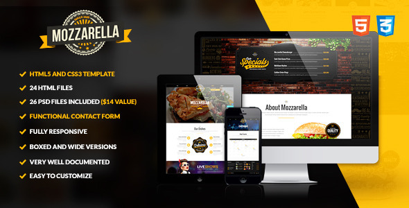 Mozzarella – HTML5 and CSS3 Cafe Bar Template