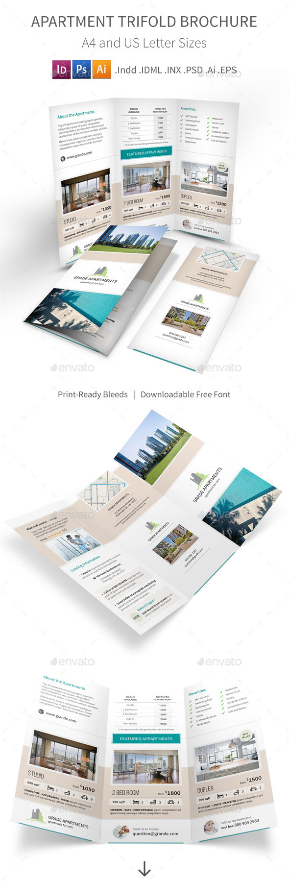 Apartment Real Estate Trifold Brochure - Informational Brochures