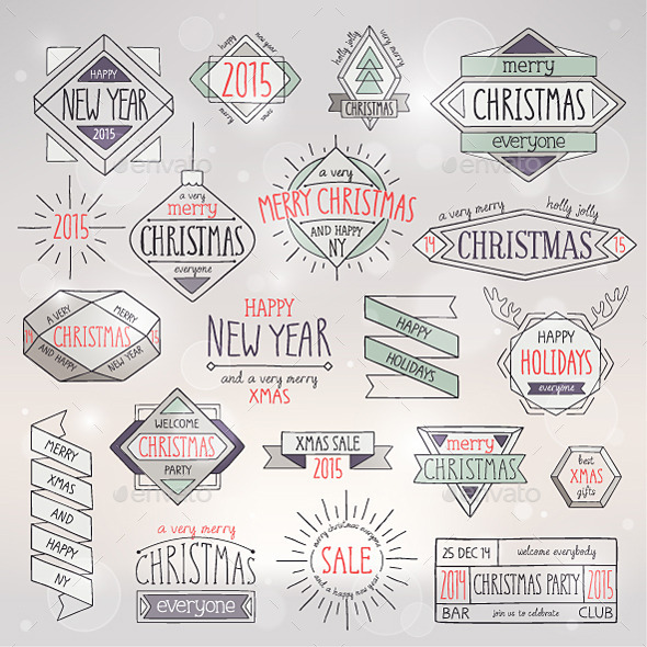 Christmas Hand Drawn Emblems Set - Christmas Seasons/Holidays