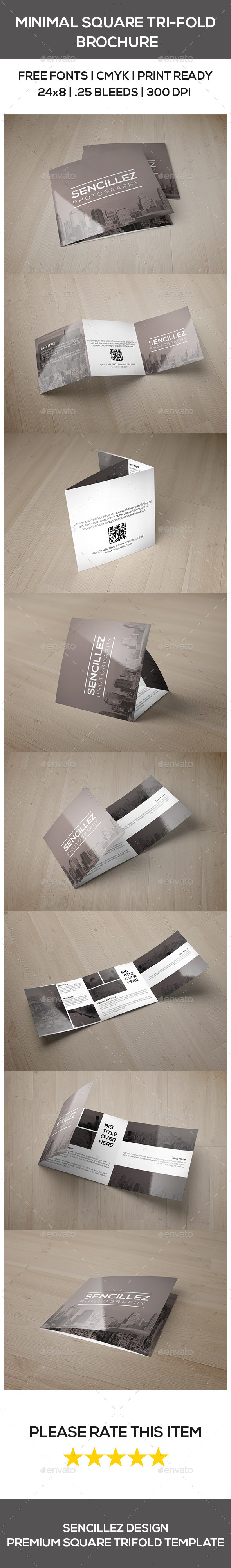 Minimal Square Tri-Fold Photography Brochure - Corporate Brochures