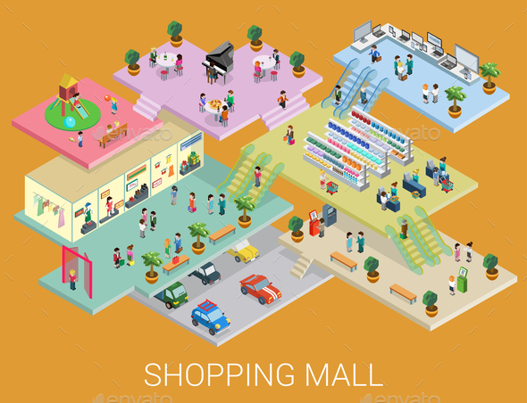 Isometric Shopping Mall Concept - Concepts Business