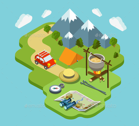 Outdoor Active Vacation Isometric Design - Concepts Business