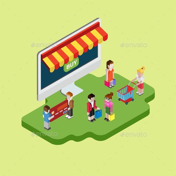 Isometric Online Shopping Design - Concepts Business