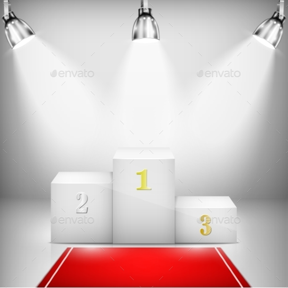 Illuminated Winner Pedestal with Red Carpet - Business Conceptual