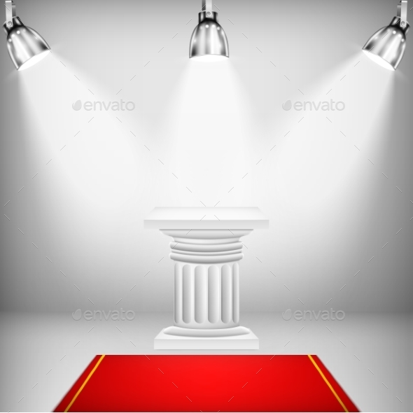Illuminated Ionic Column with Red Carpet - Business Conceptual