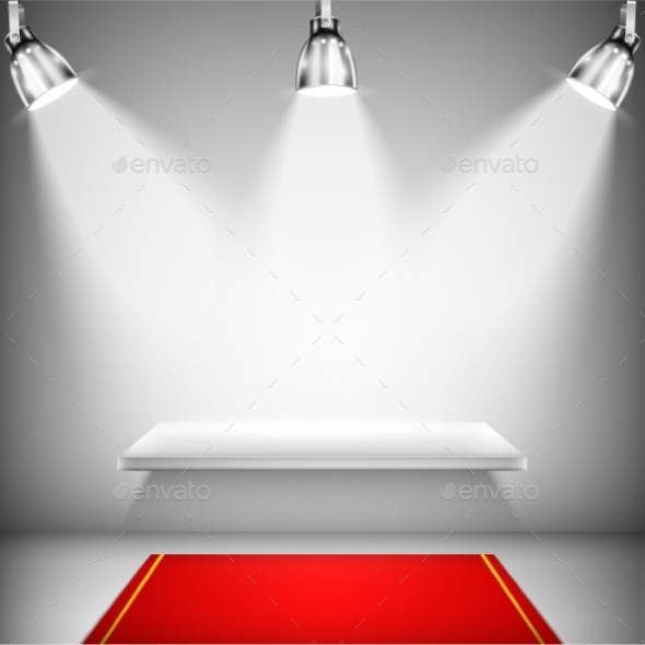 Illuminated Shelf with Red Carpet - Business Conceptual
