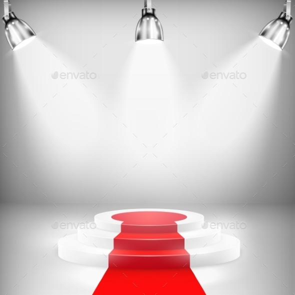 Illuminated Podium with Red Carpet - Business Conceptual