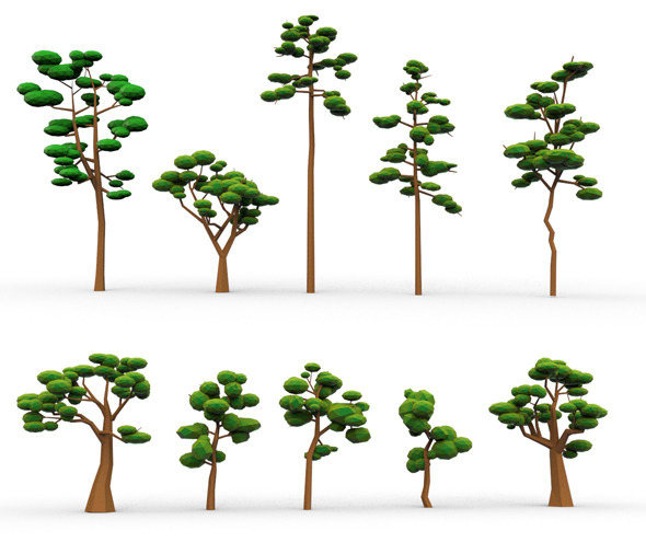 10 Low Poly Cartoon Tree - 3DOcean Item for Sale