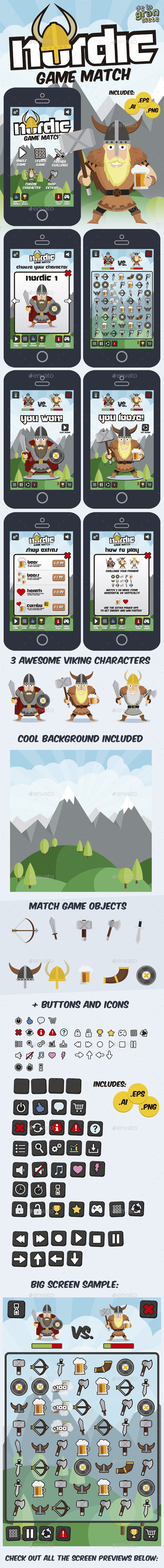 Nordic Vikings Match 3 Game Style Assets - Game Kits Game Assets