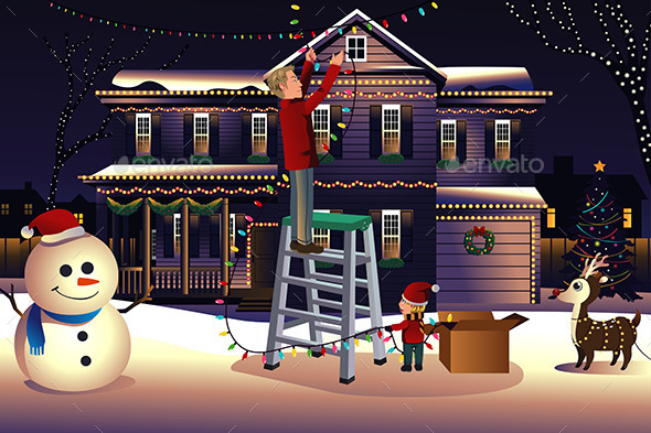 Father and Son Putting Lights on the House - Christmas Seasons/Holidays