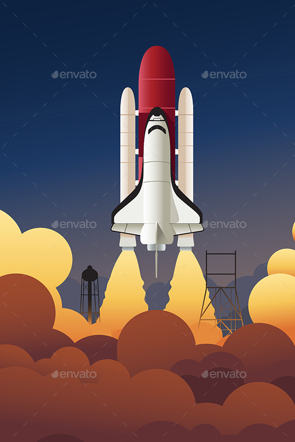 Rocket Launching into Space - Objects Vectors