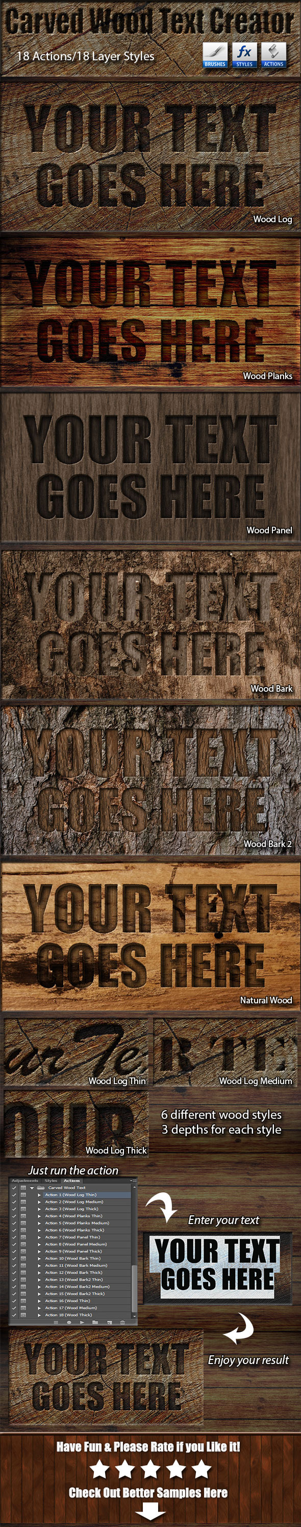 Carved Wood Text Creator - Text Effects Actions