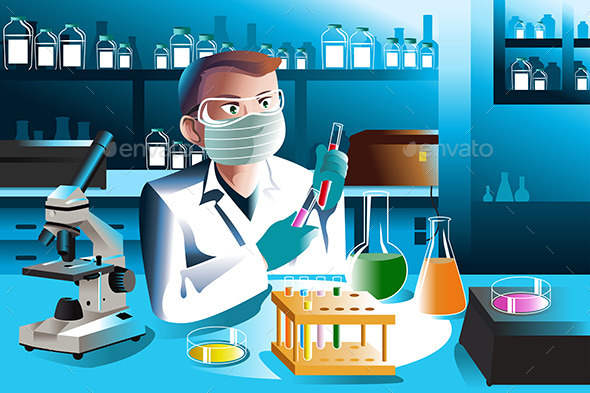 Scientist Working in Laboratory - People Characters