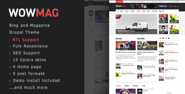 WowMag – Blog / Magazine / News Drupal Theme