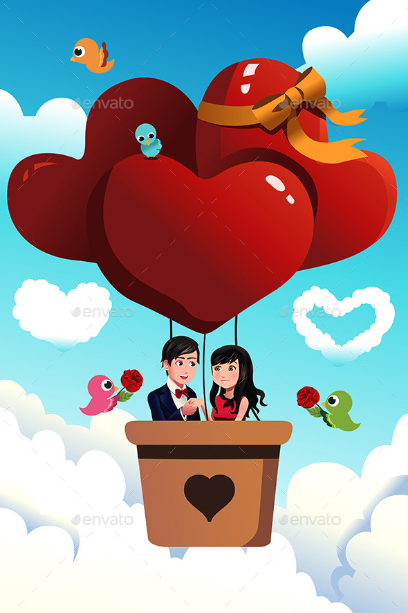 Couple Riding a Hot Air Balloon - Valentines Seasons/Holidays