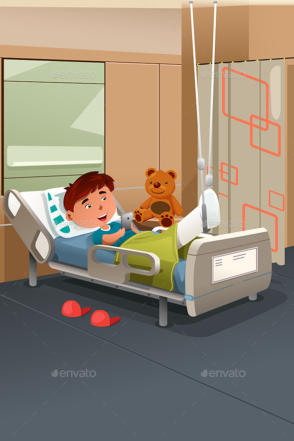 Kid with Broken Leg in the Hospital - People Characters