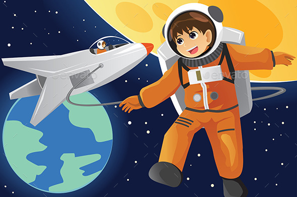 Kid Imagining as an Astronaut - People Characters